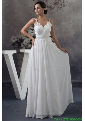 Floor-length Ruched Straps White Holiday Dress with Handmade Flower