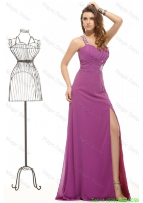 Fuchsia Column Beading One Shoulder Chiffon Prom Dress with Criss Cross