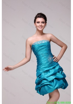Modest Teal A-line Strapless Knee-length Beading Taffeta Prom Dress with Lace Up