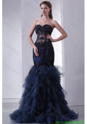 Navy Blue Mermaid Sweetheart Prom Dress with Appliques and Beading