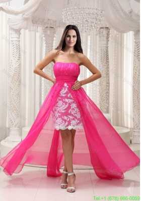 Pleating High Low Hot Pink Sashed Strapless Homecoming Dress with Lace