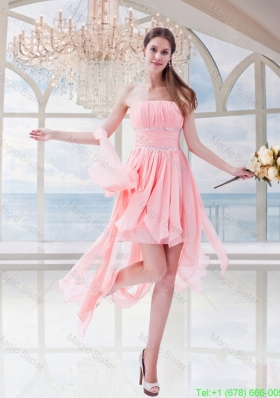 Watermelon Red Empire Chiffon Strapless Asymmetrical Homecoming Dress