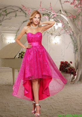 2016 Hot Pink A-line Paillette Sweetheart High Low Prom Dress