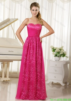 2016 Popular Hot Pink Leopard and Chiffon Sweetheart Beading Prom Dress