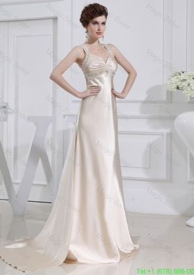 A Line  Halter Top Floor Length Beading Elastic Woven Satin Prom Dress