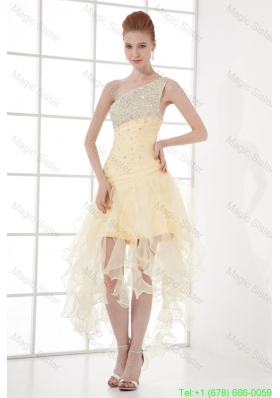 A Line One Shoulder High Low Ruchings Beading Organza Light Yellow Prom Dress