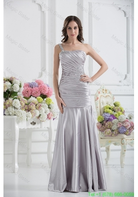 A Line One Shoulder Satin Beading and Ruching Prom Dress in Sliver