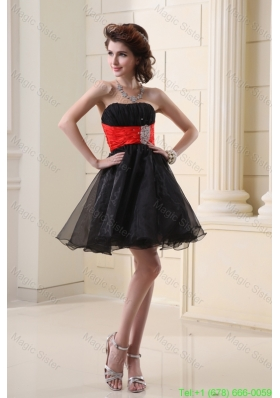 A-line Strapless Organza Black Mini-length Prom Dress with Beading and Ruching