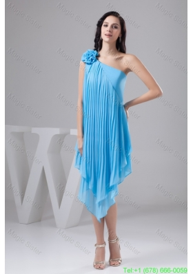 Asymmetrical Aqua Blue Chiffon Homecoming Dress with Pleats and Flower