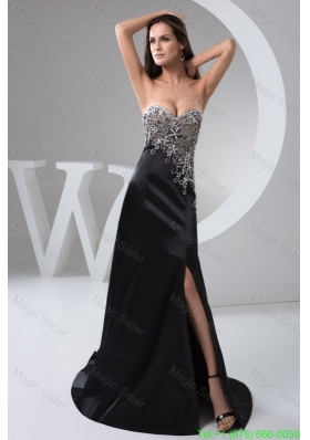 Beading and High Slit Decorate Black Brush Prom Holiday Dress