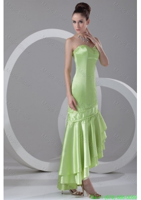 Column Sweetheart High-low Taffeta Beading Spring Green Prom Dress