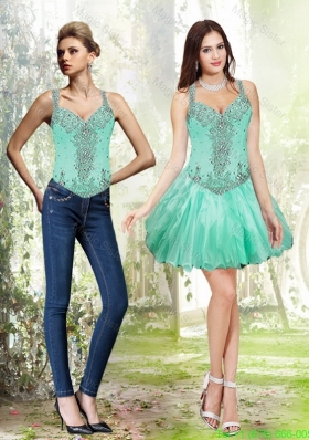 Detachable Beading and Ruffles Apple Green Prom Dress
