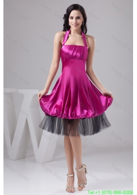 Fuchsia Halter Top Ruche Puffy Prom Dress in Satin and Tulle