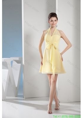 Halter Top Mini-length Light Yellow Homecoming Gown with Lovely Bowknot
