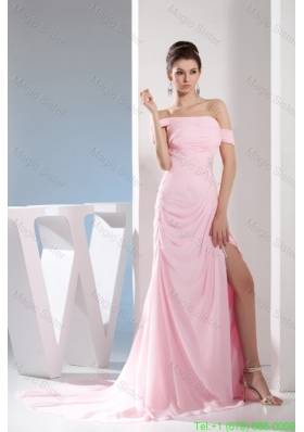 Light Pink Off The Shoulder Ruching and Beading Prom Dresses 2016