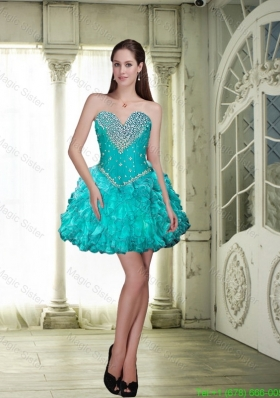 Wonderful 2015 Beaded and Ruffles Prom Dresses in Teal