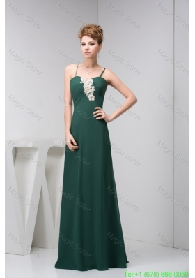 Modest Appliqued Dark Green Prom Holiday Dress with Spaghetti Straps