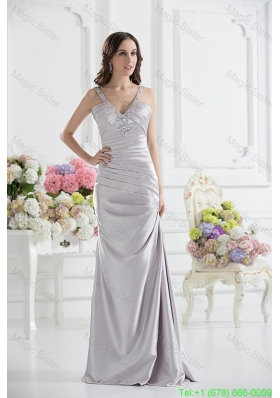 Silver Column V Neck Satin Prom Dress with Ruching and Beading