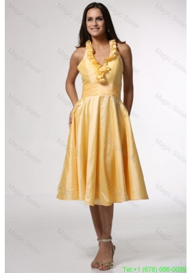 Simple Halter Top Ruffles Yellow Prom Dress Tea-length