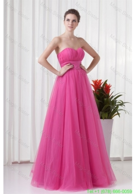 A-line Tulle Sweetheart Hot Pink Ruching Long Prom Dress1