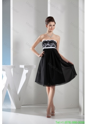 Black and White Knee Length Chiffon Prom Gown Dress with Lace