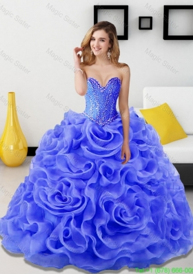 2015 Fashionable Beading and Rolling Flowers Quinceanera Dresses in Royal Blue