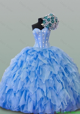2015 Popular Sweetheart Quinceanera Dresses with Beading and Ruffles