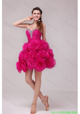 A-line Hot Pink Sweetheart Knee-length Hand Made Flowers Prom Dress