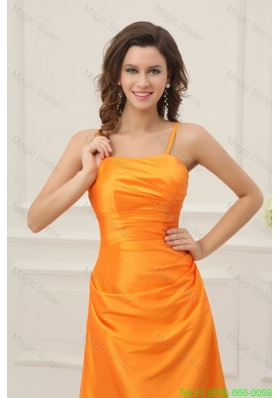 A-line Spaghetti Straps Orange Floor-length Prom Dress with Ruche