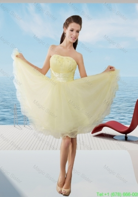 A Line Strapless Mini Length Organza Beading Junior Prom Dress in Light Yellow