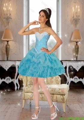 Baby Blue Pretty Sweetheart Junior Prom Dresses with Beading