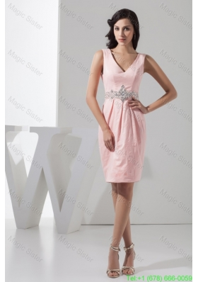 Beading Accent Waist Pink V-neck Mini-length Prom Gown Dress