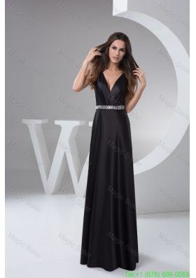 Beading V-neck Black Prom formal Dress with the Back Cut Out