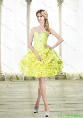 Discount Mini Length Prom Dresses with Beading and Rolling Flowers