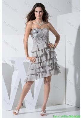Gray Sweetheart Euching and Sequins Decorated Layers Prom Dress