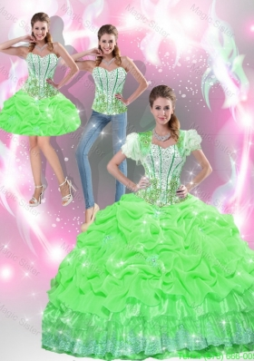Latest Spring Green Quinceanera Dresses with Appliques and Pick Ups