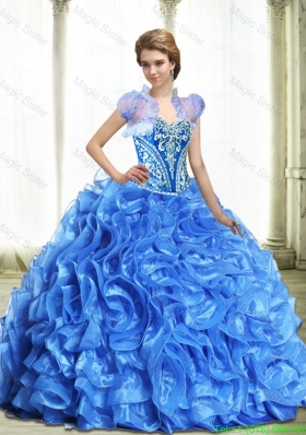 Modest Royal Blue Sweet 15 Dresses with Beading and Ruffles