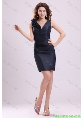Navy Blue Column V-neck Prom Dress with Flowers