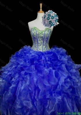 Pretty Sweetheart Blue Quinceanera Dresses with Sequins and Ruffles for 2015