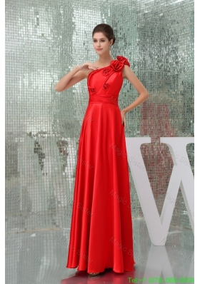 Taffeta Floor-length One Shoulder Red Prom Dress with Handmade Flower
