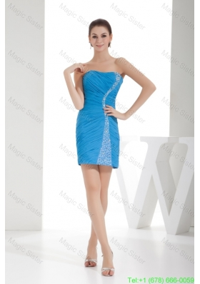 Teal Sheath Strapless Ruching and Beading Prom Dress