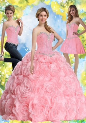2016 Most Popular Beading Baby Pink Quince Dresses