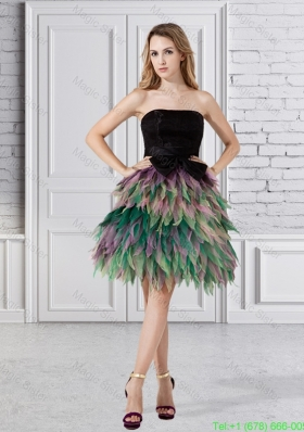 A Line Ruffled Layers Organza Prom Dress with Strapless