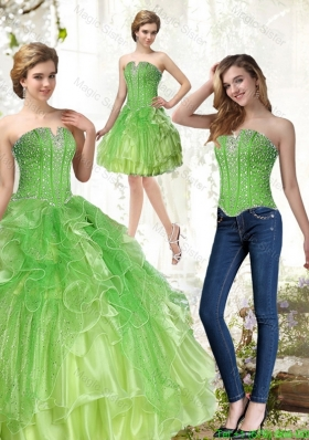 Detachable Lime Green Quince Dresses with Beading and Ruffles