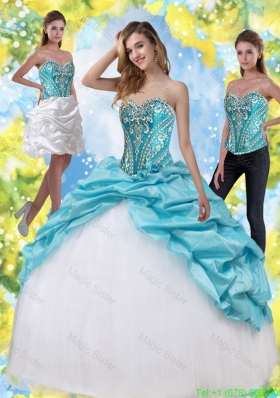 Detachable Quinceanera Dresses with Embroidery and Pick Ups