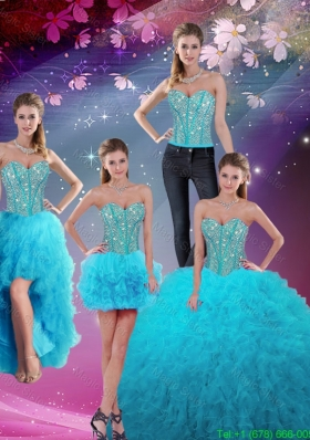 Detachable Sweetheart Beaded and Ruffles Sweet 16 Dresses in Turquoise