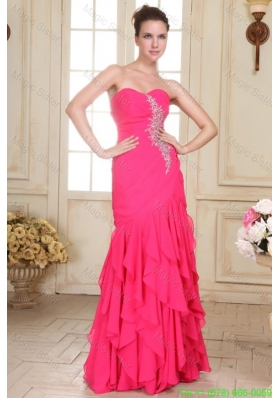 Sweetheart Floor-length Beaded Decorate Hot Pink Prom Dress in Chiffon