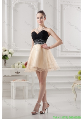 Sweetheart Organza Beading Organza Champagne Prom Dress