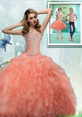 2015 Affordable Sweetheart Quinceanera Dresses with Beading and Ruffles