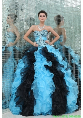 Aqua and Black Sweetheart Beading and Ruffles Quinceanera Dress